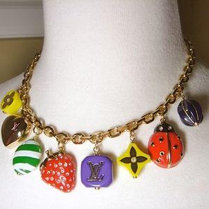 Louis Vuitton logo charm necklace choker new NIB